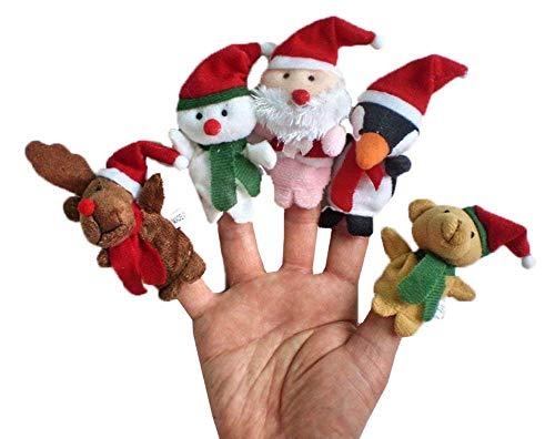 Demarkt–Navidad Dedos muñecas Juego Rollo Juegos marioneta de Peluche Juguete Niños frühre Educación Reno Muñeco de Nieve Papá Noel Pingüino Oso de Peluche
