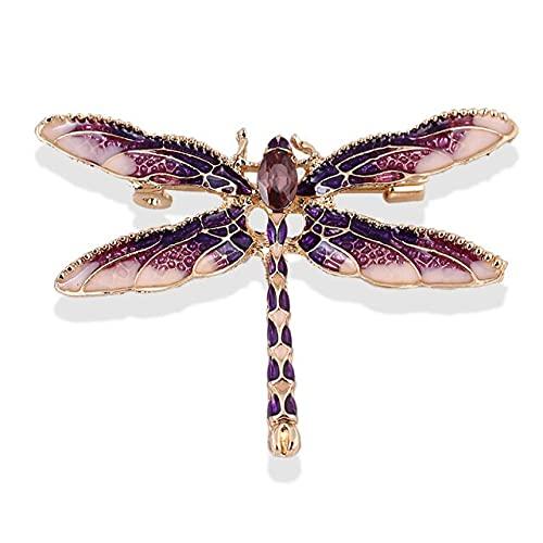 Broche de cristal vintage de la libélula de la moda broche de insectos grandes para las mujeres alfileres boda joyería accesorios-púrpura