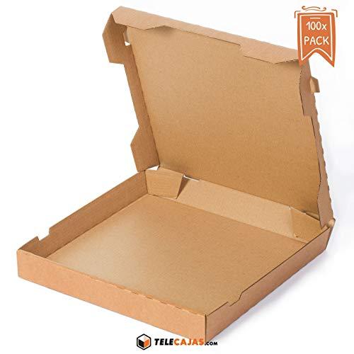 TeleCajas® | (100x) Cajas de Pizzas | Anónimas - Reciclables 100% - Mirocanal Kraft Marrón | Medidas: 33x33 cms | Lote de 100 uds