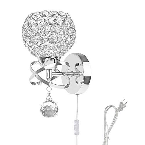 WeFoonLo Modern Crystal - Lámpara de pared con interruptor y enchufe, acabado cromado, E27 con enchufe., E27 mit Stecker