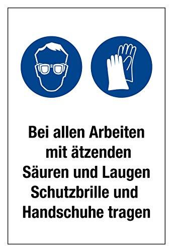Gebotsschild - Schutzbrille und Handschuhe Tragen - Kunststoff Selbstklebend - 20 x 30 cm