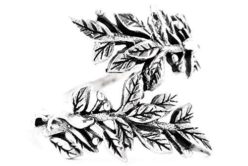 WINDALF Ring BETELI h: 1.9 cm Zarte Blätter Hochwertiges Silber (Silber, 66 (21.0))