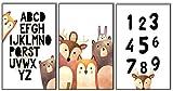 ELAFI® ABC Poster Kinderzimmer Bilder groß | Alphabet Poster set DINA3 & DINA4 Bilder| Kinder Deko Lernposter Skandinavisch | Bilderset mit Tiere123 für das Babyzimmer | Wandbilder Für Mädchen