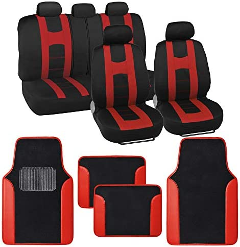 BDK Rome Sport Red Car Seat Covers Full Set Combo with Floor Mats Front and Rear Seat Cover product image