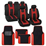 BDK Rome Sport Red Car Seat Covers Full Set Combo with Floor Mats – Front and Rear Seat Cover & Floor Mat Set, Stylish Protection with Two-Tone Color Accents, Universal Fit for Car Truck Van SUV