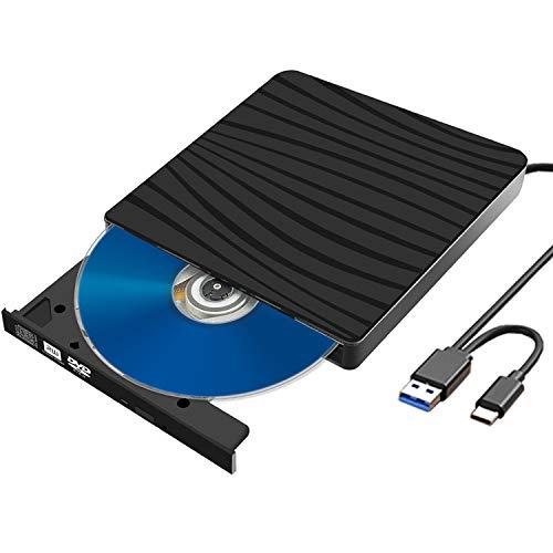 Externes CD DVD Laufwerk, USB 3.0 mit Type-C Portable DVD CD Brenner und Lesegerät für Desktop, Laptop, PC, Mac, Macbook, Slim Superdrive für Windows 10/8/7/XP/Vista/Linux, Plug & Play, Niedriger Lärm