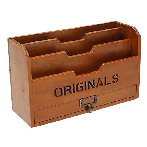 Generp Bandeja de madera para documentos A4, soporte para documentos y revistas, práctica bandeja para cartas para el escritorio, oficina, organizador de revistas