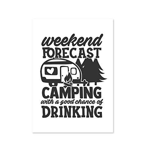 QZHSCYB Camper Gift Camping Wall Art Canvas Painting Camping Life Quote Poster Prints Cuadros de Pared en Blanco y Negro Decoración de la Tienda de Deportes -20x28 Pulgadas sin Marco