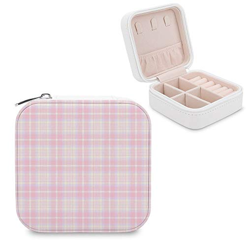 Small Jewellery Box, Mini Size Travel Jewelry Storage Case with Faux PU Lidded Light Weight, Rings,Earring,Necklace Organiser with Various Compartments/Tartan Grey Violet Pattern Electric Blue