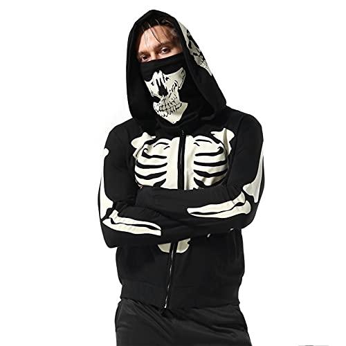 GDYJP Pullover Hombre Cabeza de Skull Head Completo Impresión de Cuerpo Completo Personalizado Suéter con Capucha Cascular Full-Zip Eco-Smart Hoodie Sudadera (Color : Black, Tamaño : S)