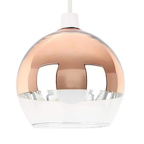 MiniSun – Paralume moderno con un tocco vintage e sferico 'Arco' - con una finitura di colore rame lucido e vetro transparente – per lampada a sospensione
