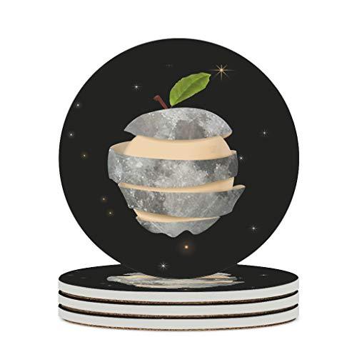 WellWellWell Posavasos de cerámica de Apple Moon, redondos, de cerámica, con parte posterior de corcho, protector para bar, cristal, oficina, diámetro de 9,8 cm, color blanco, 4 unidades