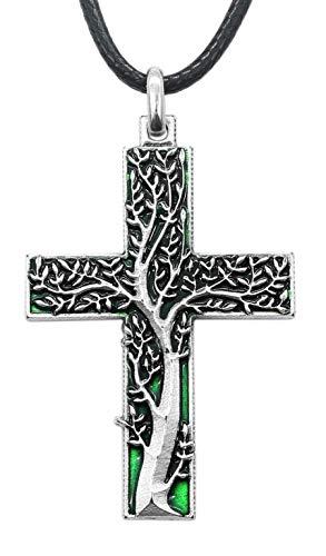 Arbol de la Vida Cruz Verde chapeada plata con collar - Original idea de regalo Amuletos de la suerte de buenos deseos de buena vida, para la mujer, madre, embarazada, matrimonio - Colgante H 4,8 cm