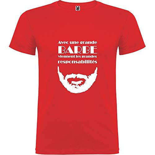 Tip Top - Camiseta para Hombre con una Gran Barba Vienen Las gandes Responsabilidades, Color Rojo Impression Blanche XL