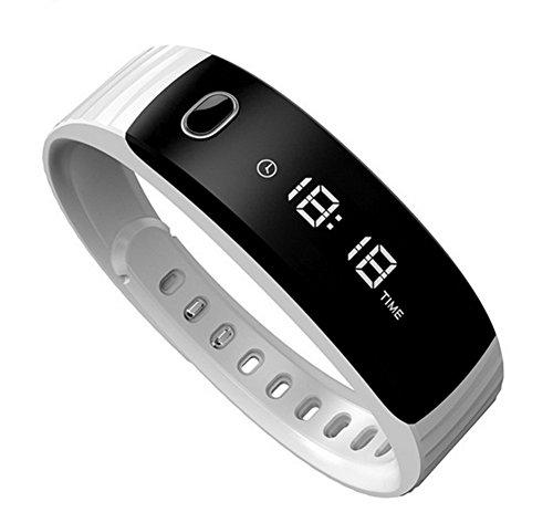 Smart Armband Armband New, Display: Herzfrequenz, Zeit, Schritte, Kalorien, Akku Anteil, Sleep Überwachung Anrufbenachrichtigung, Kompatibel mit Android und iOS, weiß