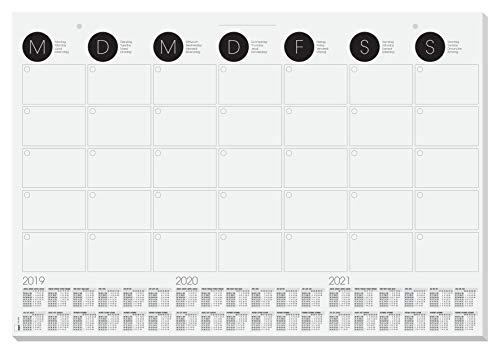 SIGEL HO550 Papier-Schreibunterlage, ca. DIN A2 - extra groß, Wandkalender mit 3-Jahres-Kalendarium und Monatsübersicht, 12 Blatt - weitere Designs