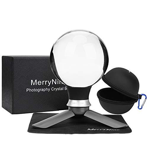 MerryNine K9 Kristall-Fotografiekugel, K9 Objektivkugel mit Mini-Stativ, Universal-Kamera-Schnittstellen-Trichter-Typ, Metallbasis und Tasche, für Lichtspektrum, Physik, Kunstdekoration, (80 mm)