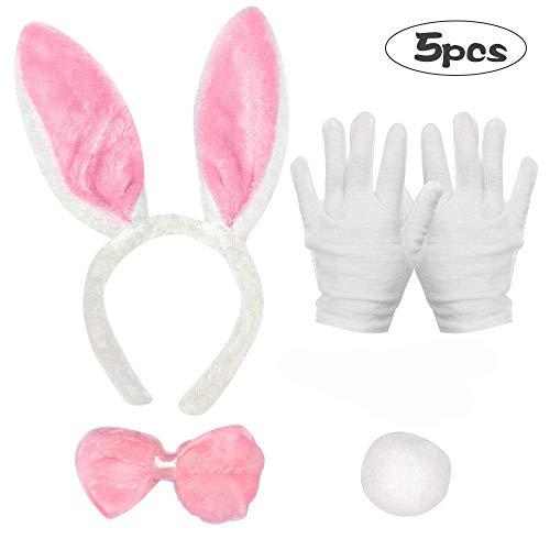 SPECOOL Kaninchen Kostüm Set, 5 STÜCKE Bunny Rabbit Ears Stirnband Fliegen Krawatte Schwanz Handschuhe für Kinder Erwachsene im Welttag des Buches Ostern Halloween Party Cosplay (Rosa)