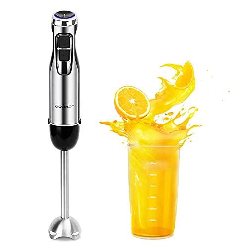 Aigostar Mixmaster - Batidora de Mano, 1000 W, Cuchillas de Acero Inoxidable Tipo 304, 6 Velocidades con Velocidad Graduable y Función Turbo. Incluye un Vaso Medidor de 600 ml. Libre de BPA.