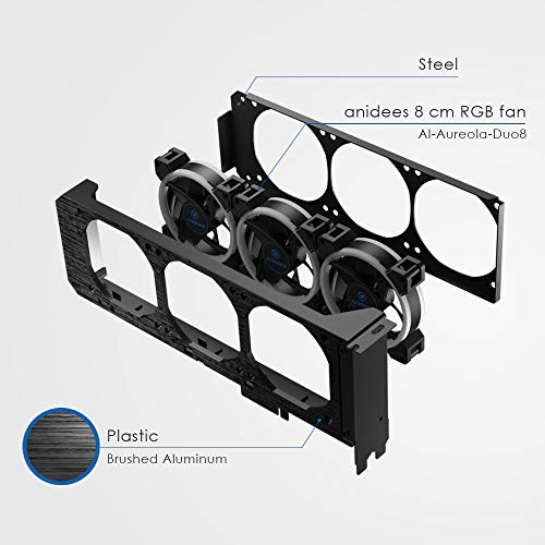 anidees Grafikkartenkühler mit 3 x 80 mm PWM-Lüfter, unterstützt ASUS Aura SYNC/MSI Mystic Sync/GIGABYTE RGB Fusion (NUR für 5V, 3 polige, adressierbare RGB) PCI-Halterung mit Remote-AI-GP-CL