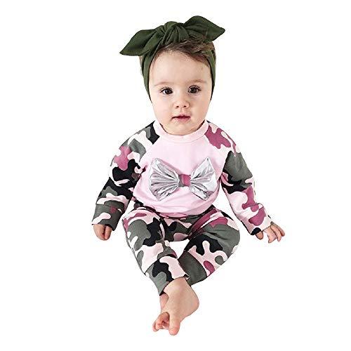 Bowknot Pantalon Baohooya Vetement B/éB/é Fille Ete Ensemble Bebe Garcon 0-18 Mois Naissance Automne Chemise T-Shirt Pyjama Manche Longue Haut Top Body Combinaison Bandeau