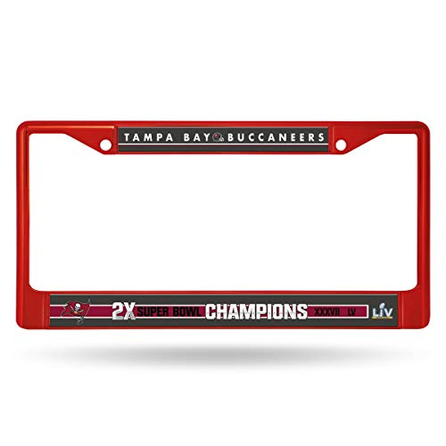 Rico Industries NFL Tampa Bay Buccaneers 2 Time Super Bowl Champs Colored Chrome License Plate Frame - Red