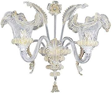Babi clásicos color aplique lámpara pared 2luces cristal Murano acabado ámbar