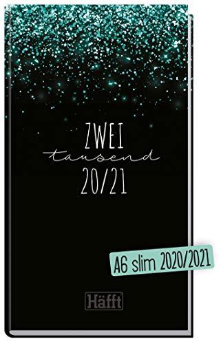 Häfft-Timer A6 Slim 2020/2021 [Glitter] Schüler-Kalender im Hosentaschenformat, Schüler-Planer, Schulplaner, Semesterplaner für Oberstufe, Ausbildung oder Studium