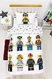 Character World LEGO - Copripiumino singolo ufficiale Hello   Lego City Design   Set di biancheria da letto reversibile per ragazzi e bambini e adolescenti, con federa, bianco, LG4HELDS001UK1