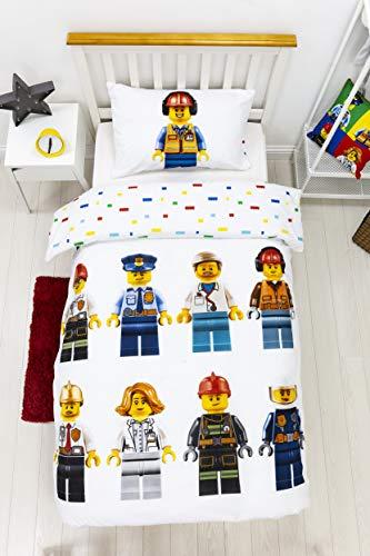 Lego - Juego de Funda de edredón y Funda de Almohada Reversible para niños, niños y Adolescentes, Color Blanco