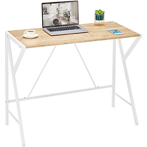Aingoo Simple Computer Desk with Stable Unique R-shaped structure Easy to assembly Writing Desk Home Office Desk Wooden Desk PC Laptop Desk for Small Space OAK