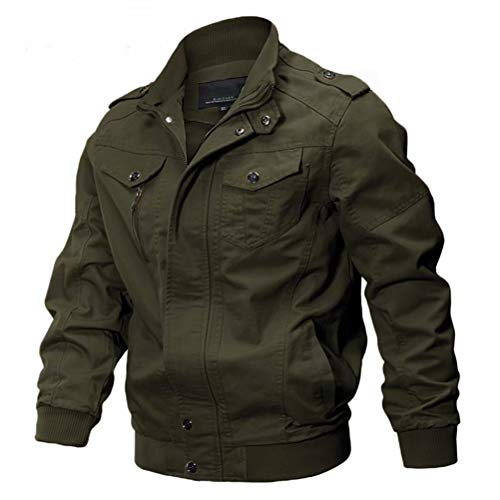 MAGCOMSEN Mens Tactical Jacket Lightweight Military Coats Stand Collar Cotton Jackets Fall Casual Zip-Front Jackets Outdoor Jacket for Men Green