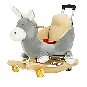 Rocking Horse rocking chair Rockers Ride-ons Baby Rocking Horse Wooden 2 In 1 Dual Use With Wheels For Kid Child Boys And Girls Nursery Rocker Seat Cute Plush Animal Music Puzzle Toy Birthday Gift,Yel