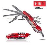 TopSpirit® Taschenmesser Sackmesser mit 9 Funktionen - 9 in 1 Multifunktionswerkzeug mit Grip - Multifunktionstool 10 cm