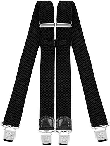 Decalen Hosenträger für Herren mit 4 Starken Clips X Form Lang Eine Größe Passt Alle Verschiedenen Farben (Schwarz)