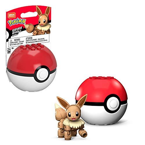 Mega Construx GKY74 - Pokemon Evoli Bauset mit Pokeball, 24 Bausteinen, Spielzeug ab 6 Jahren