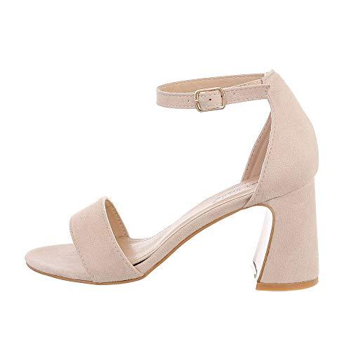 Ital Design Damenschuhe Sandalen & Sandaletten High Heel Sandaletten, 8741-, Kunstleder, Beige, Gr. 36