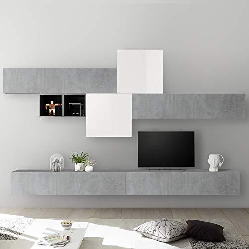 NOUVOMEUBLE Mur TV Design Blanc laqué et Gris béton PULSANO