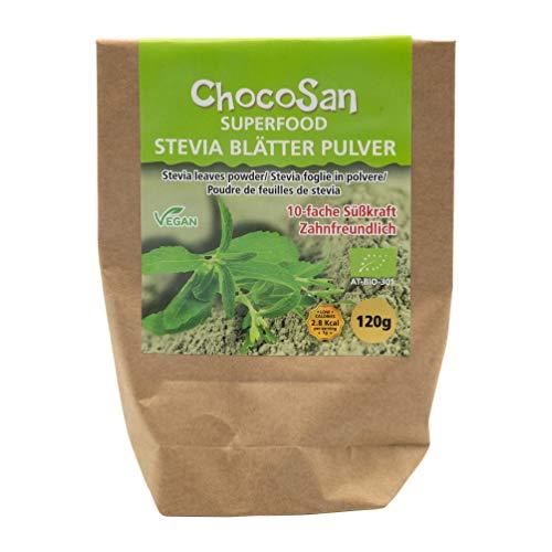 ChocoSan Bio Stevia Blätter gemahlen - grünes Stevia Pulver aus dem getrocknetem Blatt, gesunder Zuckerersatz - kalorienfrei und ohne Zusatzmittel, 120g