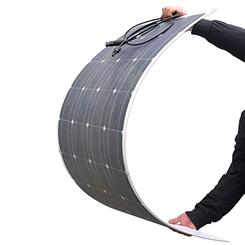 100W Flexible Bendable Solar Panel with Innovative New Strong Encapsulant, Lightweight Bendable Solar Power System for RV, Boats, Roofs, Cabin, Tent, Car, Trailer, Curve Surfaces