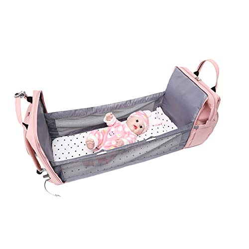 GYNFJK Folding Mommy Bag Large Capacity Baby Travel Backpack Changing Baby Changing Multifunctiona Bed for traveling, walking, picnic
