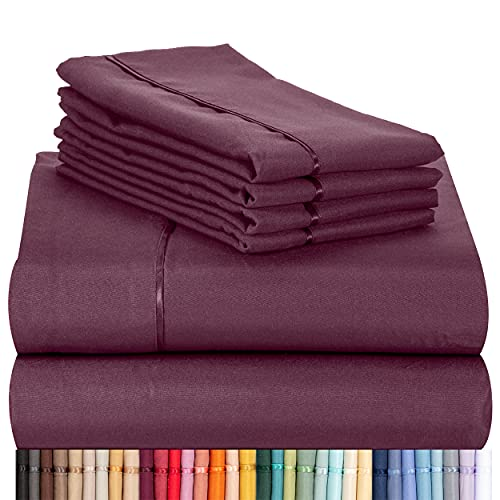 """LuxClub 6 PC Sheet Set Bamboo Sheets Deep Pockets 18"""" Eco Friendly Wrinkle Free Sheets Machine Washable Hotel Bedding Silky Soft - Eggplant Queen"""