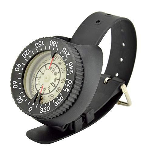 Aiyrchin Correa para la muñeca del Reloj del compás del compás Impermeable Luminoso Buceo Brújula Durable Compacto para Vela Buceo Negro