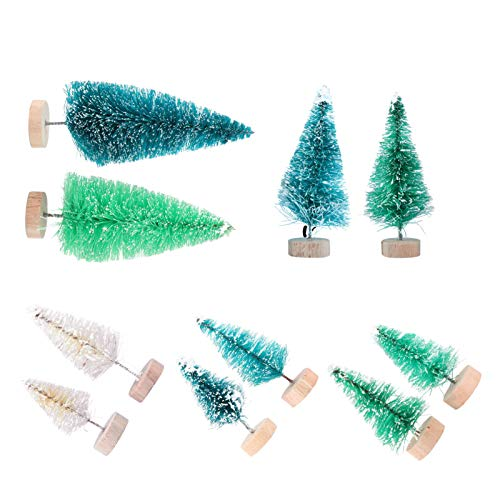 PRETYZOOM 8pcs Mini Christmas Tree Tabletop Snow Frost Miniature Pine Tree Bottle Brush Trees Holiday Desktop Ornament for Christmas Party Decoration