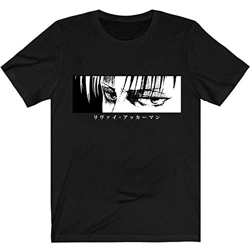 Firovps Attack on Titan Novelty Anime Print Summer Fashion T-Shirt for Men's,Black,XL