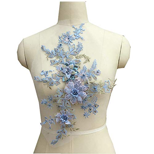 Colorful 3D Flower Embroidery Patches Bridal Lace Sewing Fabric Applique Beaded Pearl Tulle DIY Wedding Dress (Blue)