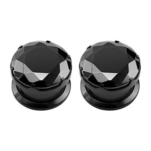 ZeSen Jewelry Negro Piedra CZ Oído medidores de acero inoxidable de rosca Tapones túnel oído del ampliador del ensanchador Perforación (2) Gauge = 2 g (6 mm)