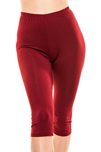 Issa Plus Yoga Capris - Yoga Leggings - Workout and Yoga Pants for Women with Plus Size (6XL, Burgundy)