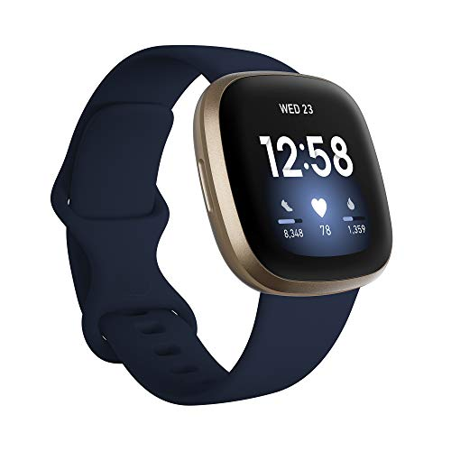 Fitbit Versa 3 Health & Fitness Smartwatch with GPS, 24/7 Heart Rate, Voice Assistant & up to 6+ Days Battery, Midnight/Soft Gold