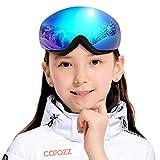 COPOZZ Kids Ski Goggles, G3 Children (Age 2-12) Snow Snowboard Goggles - Helmet Compatible Over Glasses OTG Non-Slip Strap UV400 Protection for Children Youth Boys Girls (S2 Magnetic Blue VLT-14%)